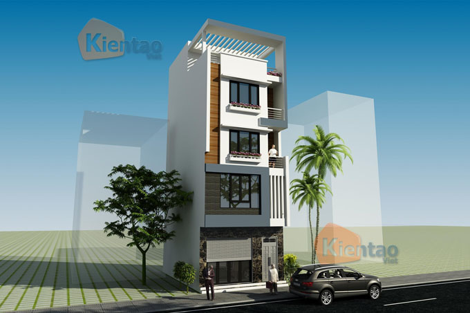 Thiết kế nhà phố 5 tầng mặt tiền 6m dài 11m tại Long Biên - Phối cảnh 02