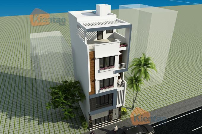 Thiết kế nhà phố 5 tầng mặt tiền 6m dài 11m tại Long Biên - Phối cảnh 03