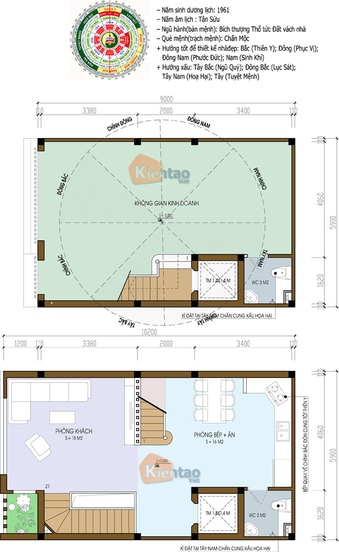 Thiết kế nhà phố 5 tầng mặt tiền 6m dài 11m tại Long Biên - Mặt bằng tầng 1+2