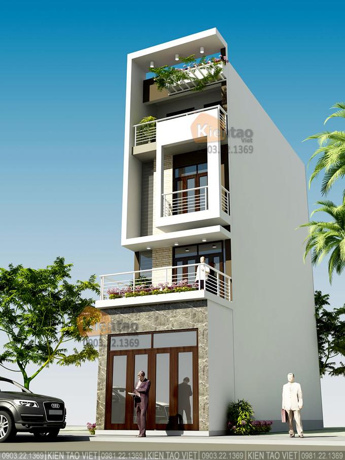 Nhà phố hiện đại 4 tầng 4.2x17m tại Phú Xuân, Thái Bình - Phối cảnh 01