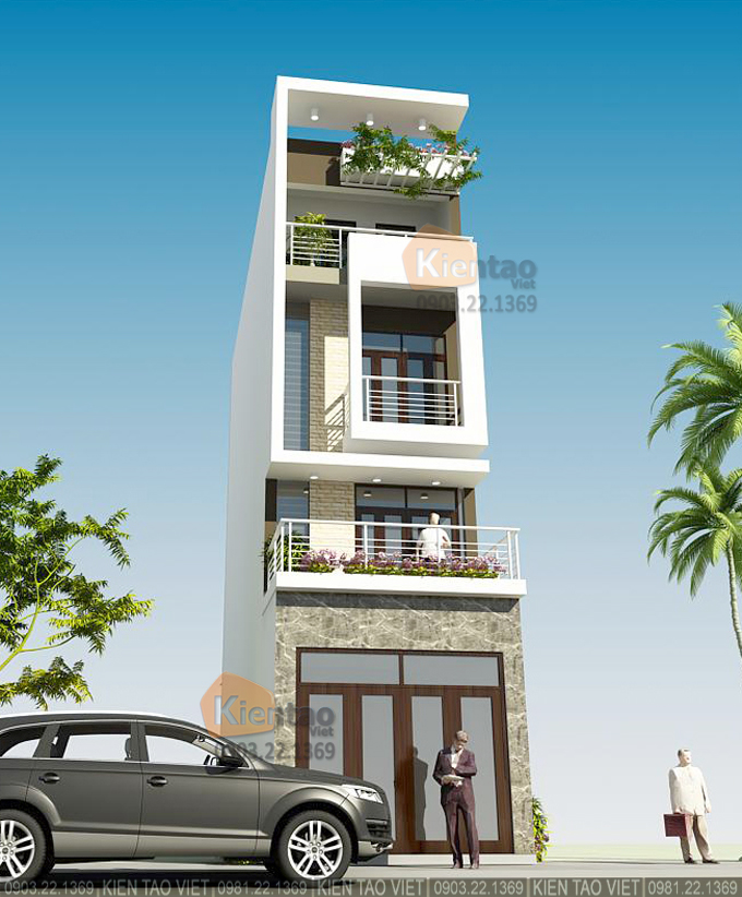 Nhà phố hiện đại 4 tầng 4.2x17m tại Phú Xuân, Thái Bình - Phối cảnh 02