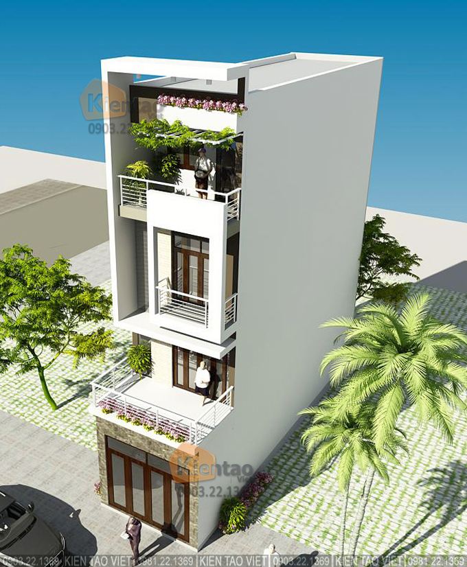 Nhà phố hiện đại 4 tầng 4.2x17m tại Phú Xuân, Thái Bình - Phối cảnh 03