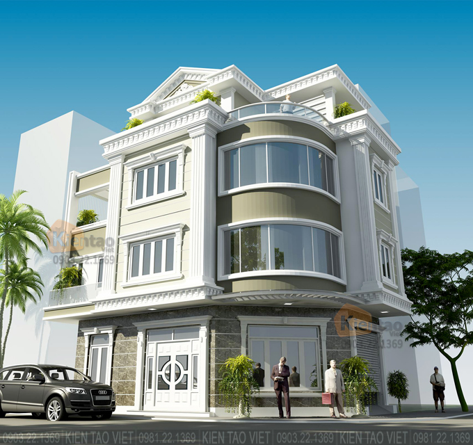 Nhà phố lô góc 3 tầng 7x13.5m kiến trúc biệt thự Pháp tại Hải Dương - Phối cảnh 01