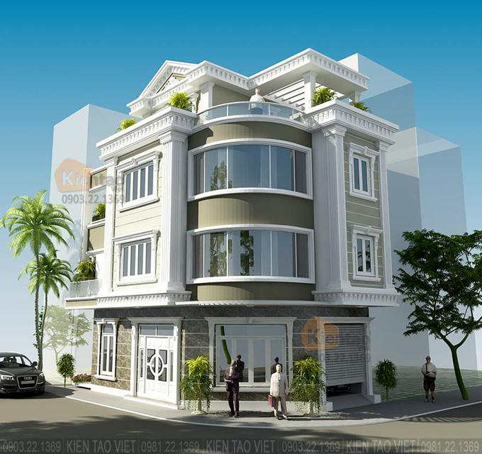 Nhà phố lô góc 3 tầng 7x13.5m kiến trúc biệt thự Pháp tại Hải Dương - Phối cảnh 02