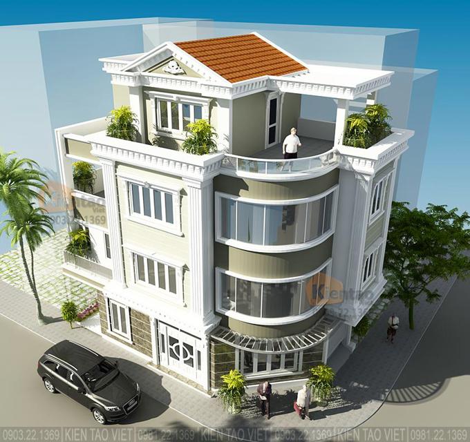 Nhà phố lô góc 3 tầng 7x13.5m kiến trúc biệt thự Pháp tại Hải Dương - Phối cảnh 03
