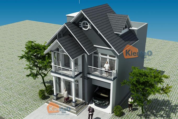 Thiết kế biệt thự 2.5 tầng 100m2 tại Bắc Ninh - Phối cảnh 01