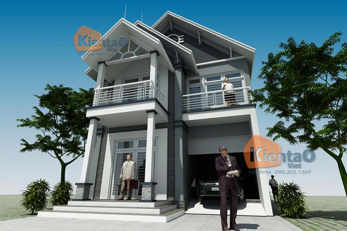 Thiết kế biệt thự 2.5 tầng 100m2 tại Bắc Ninh - Phối cảnh 04