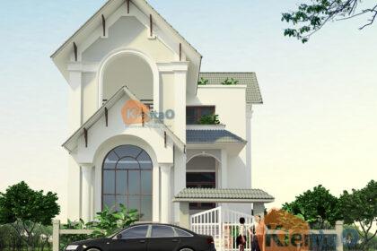 Thiết kế biệt thự cách tân 2 tầng 70m2 tại Phú Thọ - Phối cảnh 01