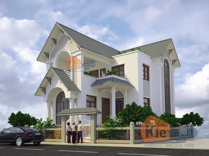 Thiết kế biệt thự cách tân 2 tầng 70m2 tại Phú Thọ - Phối cảnh 02