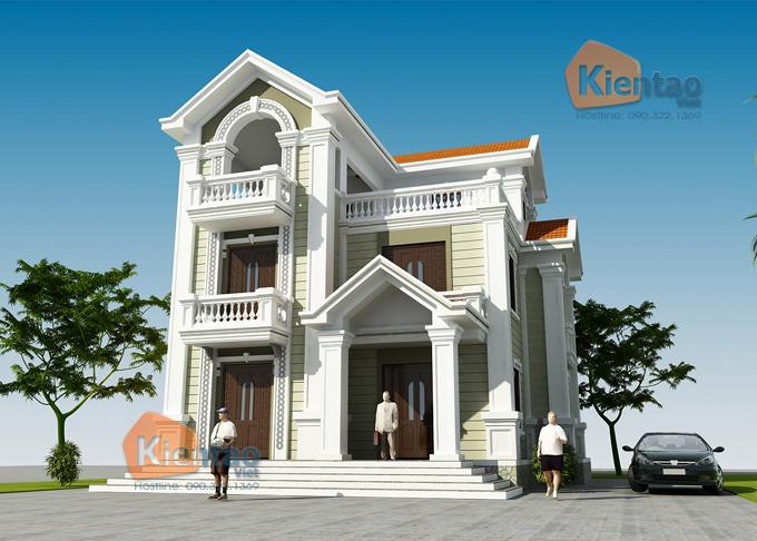 Thiết kế biệt thự Pháp 3 tầng 135m2 tại Thanh Trì - Phối cảnh 01