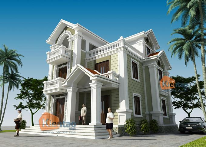 Thiết kế biệt thự Pháp 3 tầng 135m2 tại Thanh Trì - Phối cảnh 02