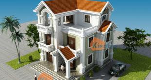 Thiết kế biệt thự Pháp 3 tầng 135m2 tại Thanh Trì - Phối cảnh 04