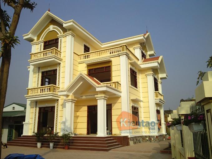 Thiết kế biệt thự Pháp 3 tầng 135m2 tại Thanh Trì - Thi công hoàn thiện 02