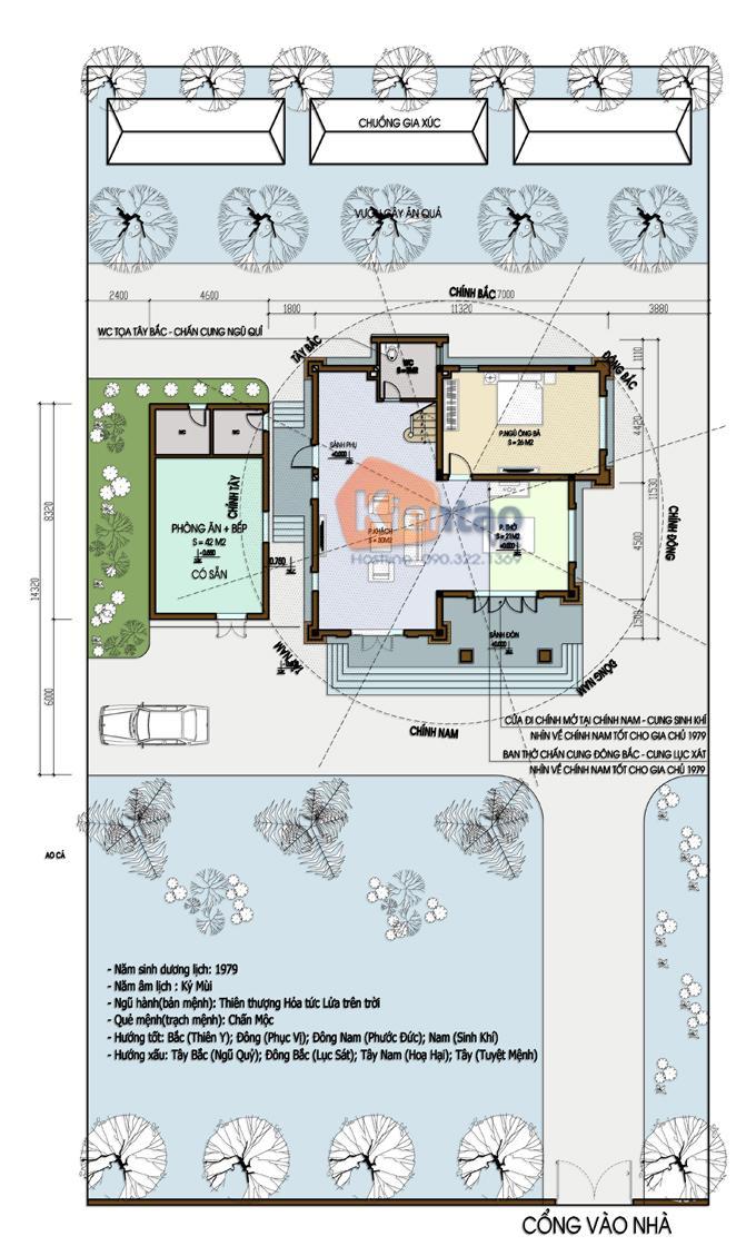 Thiết kế biệt thự Pháp 3 tầng 135m2 tại Thanh Trì - Mặt bằng tổng thể tầng 1