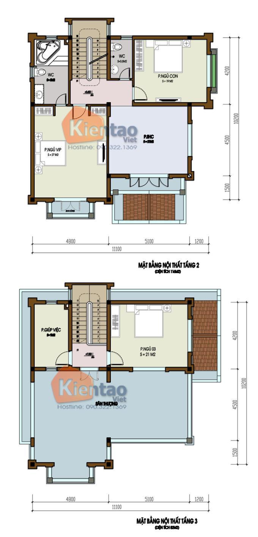 Thiết kế biệt thự Pháp 3 tầng 135m2 tại Thanh Trì - Mặt bằng tầng 2 + 3