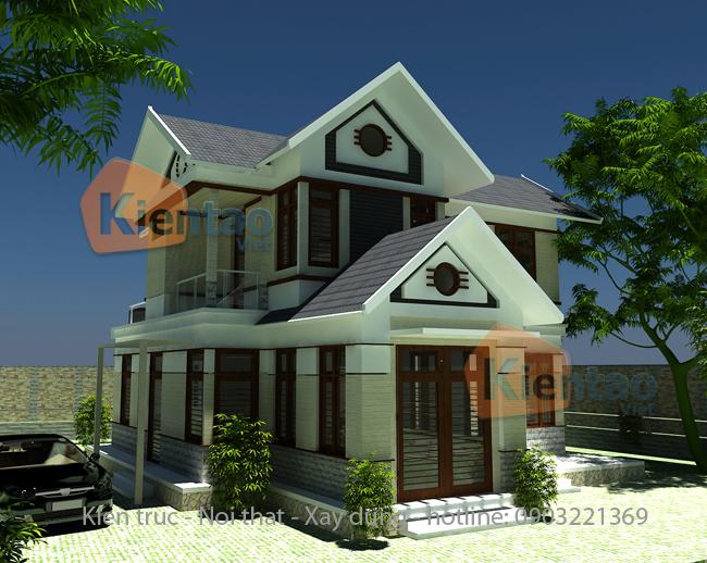Thiết kế biệt thự vườn 2 tầng 100m2 tại Uông Bí, Quảng Ninh - Phối cảnh 01
