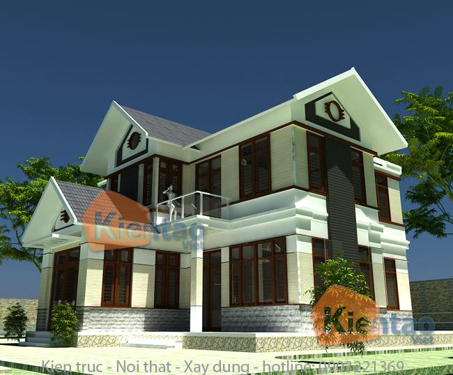 Thiết kế biệt thự vườn 2 tầng 100m2 tại Uông Bí, Quảng Ninh - Phối cảnh 02