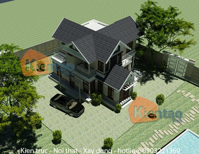 Thiết kế biệt thự vườn 2 tầng 100m2 tại Uông Bí, Quảng Ninh - Phối cảnh 03