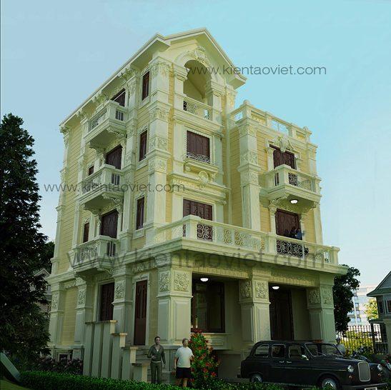 Phối cảnh góc 1 biệt thự nhà đẹp tại Sóc Sơn