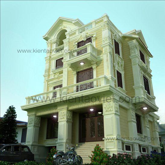 Thiết biệt thự đẹp 4 tầng Pháp tại Sóc Sơn Hà Nội - Phối cảnh góc 2