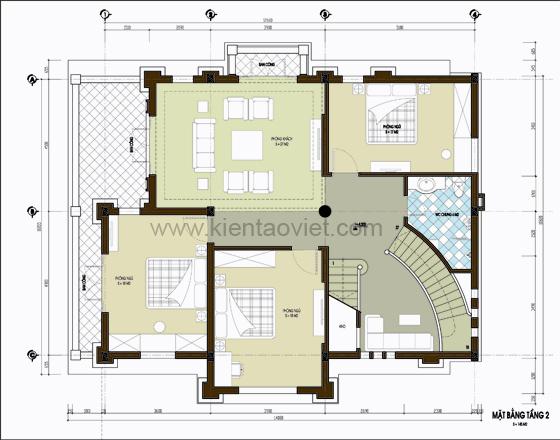Mặt bằng tầng 2 thiết kế biệt thự nhà đẹp tại Sóc Sơn